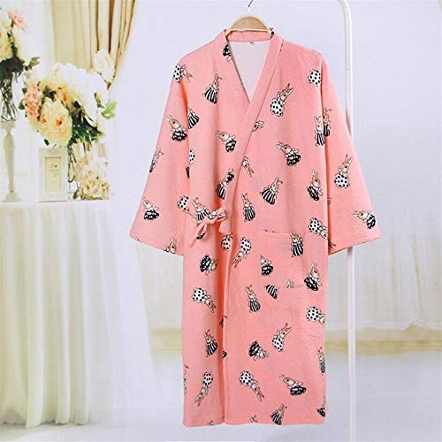 Crystallly Soft Touch Mujeres Niñas Invierno Albornoz Engrosada Conejo De Algodón Estilo Simple Impresa Pijama Camisón Azul Grande Inicio Moda Pijamas Cómodos (Color : Rose, Size : L)