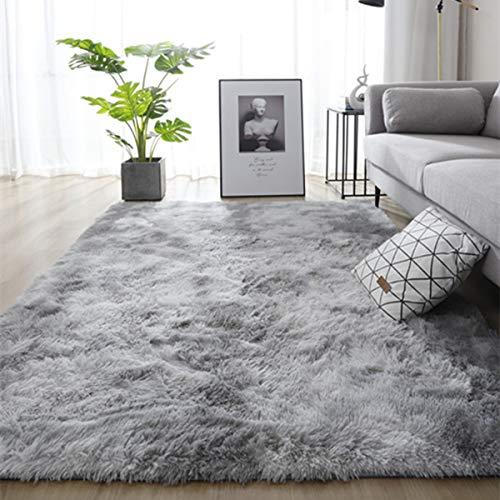 Leesentec Teppiche Weiche Schlafzimmerteppiche Anti-Rutsch-Flauschiger Wohnzimmerteppich Zottelige Fußmatten Groß für Schlafzimmer (120 * 200cm, Grau weiß)