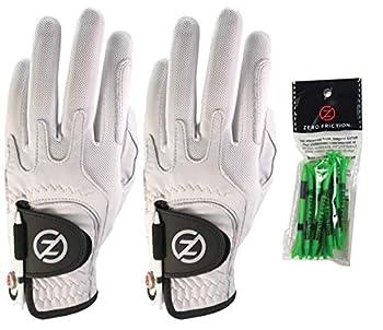 Zero Friction Male Men s Cabretta Elite Golf Glove 2 Pack Free Tee Pack White & White Universal Fit  GL72007