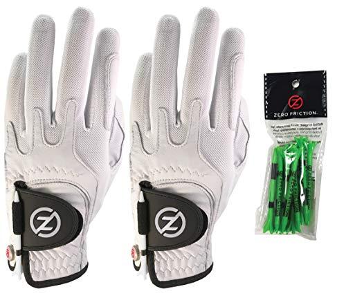 Pack de 2 gants de golf Cabretta Elite Zero Friction pour homme, ensemble de tee-shirts gratuits, blanc et blanc, coupe universelle (GL72007)
