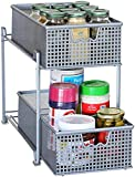 DecoBros 2 Tier Mesh Sliding Cabinet Basket Organizer Drawer,Silver