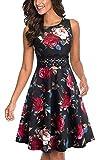 HOMEYEE UKA079 - Vestido de cóctel para mujer, cuello redondo, sin mangas, con flores bordadas, largo hasta la rodilla, estilo vintage rojo flores XL