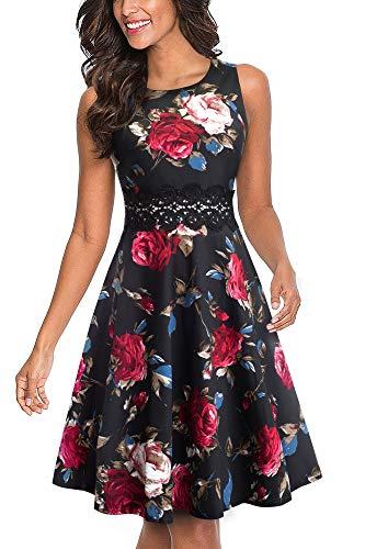 Homeyee UKA079 - Vestido de cóctel para mujer - Corto por la rodilla con bordado floral sin mangas y con cuello redondo Fleurs Rouges. S