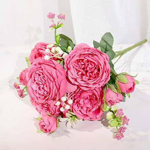 shubiao Flores Artificiales de peonía de Seda Rosa Rose Boda Decoración para el hogar Ramo Grande Accesorios de Espuma Artesanía Flor Falsa Blanca, Rosa