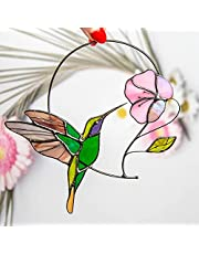 Youjin Humming Vogel Venster Ornamenten, Venster Hangings Gebrandschilderd Glas Bloem en Kolibrie Suncatcher Art Home Crafts Decor Gift Ornamenten
