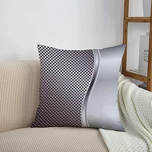 Fundas de cojines sencillas y clásicas de 45 x 45 cm,Fondo gris y fresco con altavoz de rejilla en forma cuadra,ideales para casa, oficina o para la espalda en el coche - Fundas de Poliéster para sofá