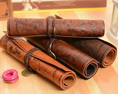 ANTIMAX Vintage Roll Up Pencil Case Creative Map Matte Smooth Cover Pencil Pouch Art Makeup Cosmetic Pouch with Pendant for Business School Gifts Pack of 4