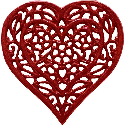 Cast Iron Heart Trivet - Decorative Cast Iron Trivet for Kitchen Or Dining Table - Vintage, Rusted Design - 6.75X6.5' - with Rubber Pegs/Feet - Recycled Metal - Red