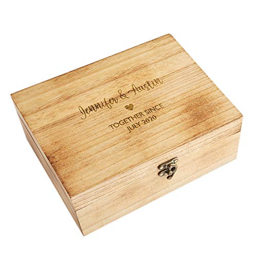 """Let's Make Memories Personalized Keepsake Box - for Couples - Memory Saver - Wedding Gift Engagement Gift - 5""""W x 7""""L x 3.5""""H"""