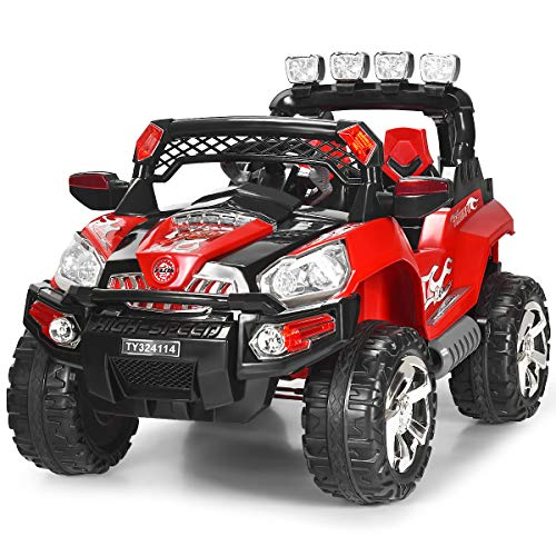 HONEY JOY Ride On Truck, 2 Seats 4 Wheels Electric Vehicles for Kids, Remote Control, Music, Spring Suspension, LED Lights, 12V Toddler UTV Toy Car for 3-6 Years Boys Girls, Red -  SX-2RES-3O