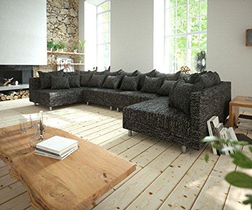 DELIFE Couch Clovis XL Schwarz Strukturstoff Wohnlandschaft Modulares Sofa