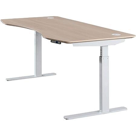 "ApexDesk Elite Series 71"" W Electric Height Adjustable Standing Desk (Memory Controller, 71"" Light Oak Top, Off-White Frame)"
