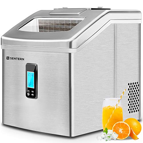 Sentern Portable Electric Clear Ice Maker Machine Stainless Steel Countertop Ice Making Machine, 2.4 lbs Ice Storage 48 lbs Per Day, Real Clear Ice Cubes, Crystal clear ice (Space.Silver)