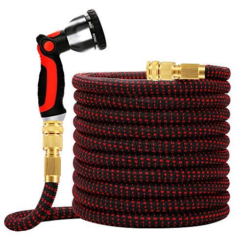 Worth Flexibler Gartenschlauch Ausgedehnt Bis 7,5m/25FT Flexischlauch Wasserschlauch mit 10 Multifunktion Brause Messing Adapter zur Bewässerung und Reinigung