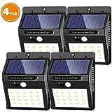 Phiraggit - 4 luces solares de pared con 30 LED solares, impermeables, sensor de movimiento solar montado en la pared exterior, luces de noche, luz automática, encendido/apagado