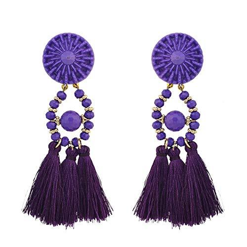 Pendientes bohemios de moda con cuentas de estilo étnico vintage con flecos, pendientes de declaración para mujer, color: morado (color: púrpura)