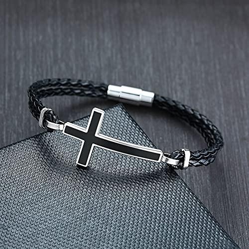 FIISH Pulseras de Cuerda de Cuero Trenzado Negro Cruzado Lateral Informal para Hombre, brazaletes para Hombre, Regalos de oración, joyería