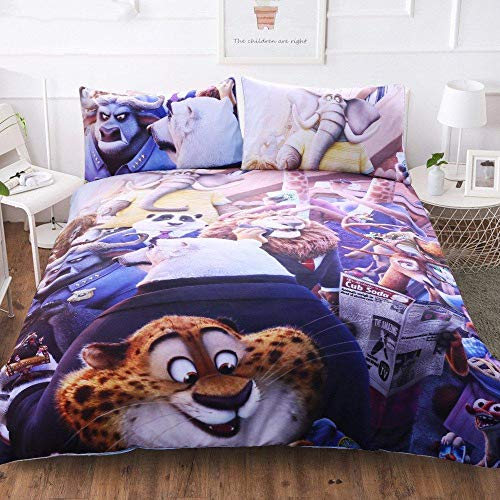 Gvvaceo 3D Bed Linens double 200 x 200 cm Duvet Cover Set Printed Single Twin Full Queen King Bed Quilt Cover Bedding Sets Pillowcases 3pcs Cartoon anime animal christmas bedding