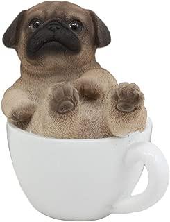 Ebros Realistic Mini Adorable Pug Dog Teacup Statue 3