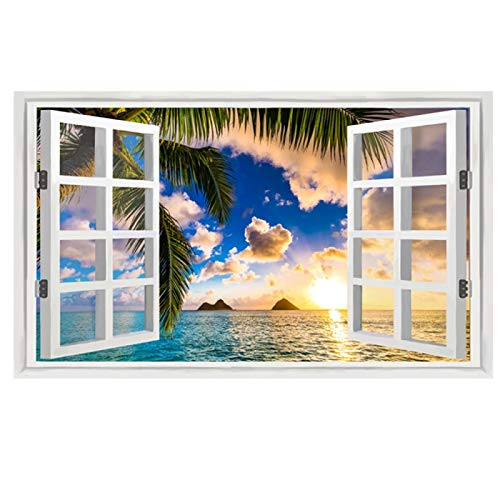 3D Window Landscape Coconut Sunsets Canvas Art Painting Posters and Prints Wall Art Picture for Living Room