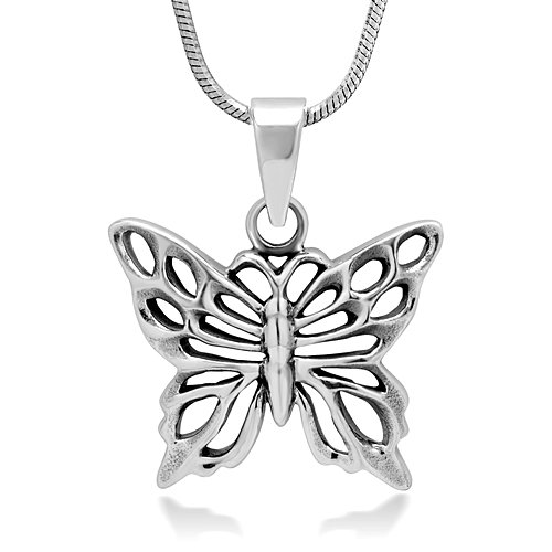 925 Oxidized Sterling Silver Celtic Butterfly Animal Lovers Pendant Necklace, 18 inches