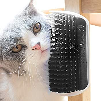 PET SPPTIES Brosse d'Angle de toilettage Massage pour Chat Groomer Brosse Peigne Chiens Chats Cheveux De Rembourrage PS021 (Black)
