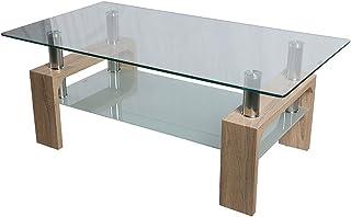comprar comparacion HomeSouth - Mesa de Centro Fija, Cristal Templado Transparente, Patas Color Cambria