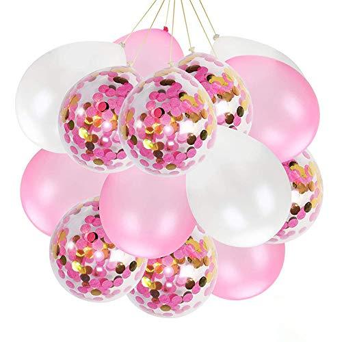 Globos de fiesta con globos de confeti rojo rosa, adecuados para bodas, cumpleaños, baby shower, graduación, decoración de fiestas de ceremonia (60 piezas)