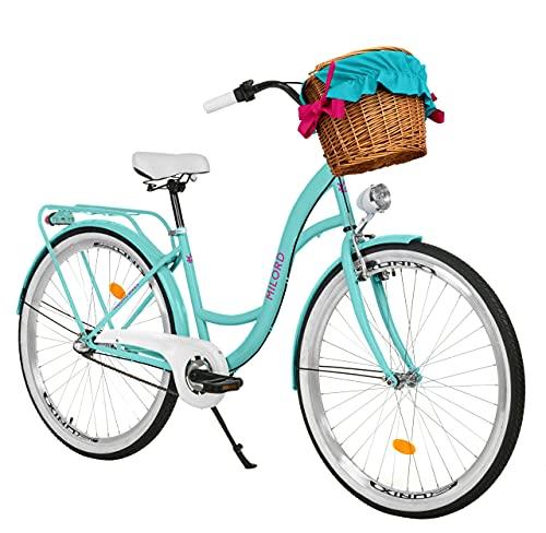 Milord Bikes Bicicletta Comfort Colore del Mare a 3 velocità da 26 Pollici con cestello e Marsupio Posteriore, Bici Olandese, Bici da Donna, City Bike, retrò, Vintage