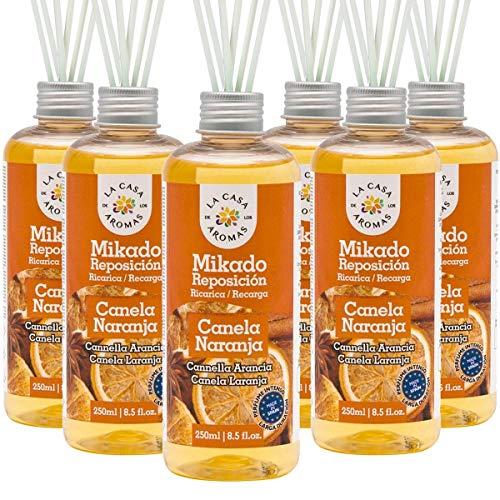 La Casa de los Aromas, Set de 6 x 250ml Ambientadores Mikado Canela Naranja para Reposición con Varillas, Difusor Líquido de Aroma Canela Naranja, Perfume Duradero para el Hogar, Baño, Casa