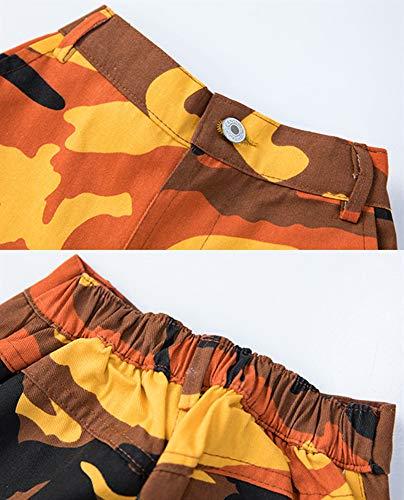 Girls Street Dance Costume Hip Hop Solo Jazz Top+Camouflage Jogger Pants Clothes Set (Orange, 10-12)