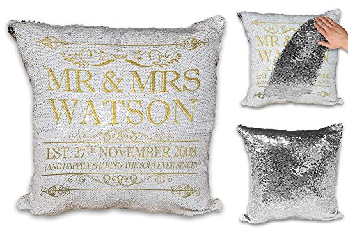 Personalised Happily Sharing The Sofa Together Anniversary Novelty Sequin Reveal Magic Cushion Cover (Gold Design)