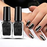 Naladoo Nail Art Beauty Tools,Mirror Nail Polish Plating Paste Metal Color Stainless Steel Mirror Silver Nail Polish for Nail Art (Black)