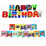 2 PACK Superhero Birthday Banner for Party Decorations - Superhero Inspired HAPPY BIRTHDAY Banner, Superhero Banner for Boys Kids Children Birthday Party Decorations
