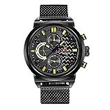 NAVIFORCE Reloj de pulsera de cuarzo analógico de acero inoxidable para hombre con fecha (amarillo)