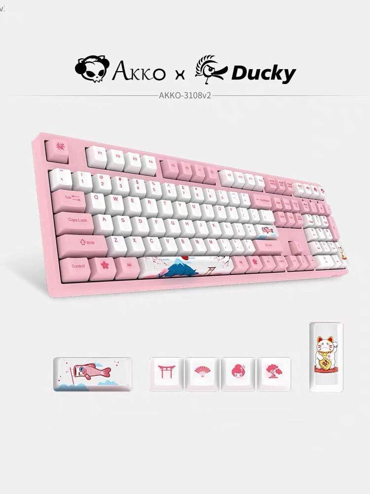 AKKO 3108 V2 108 Key PBT Keycap Akko Pink Switch Type-C Wired Mechanical Gaming Keyboard (Cherry Pink Switch)