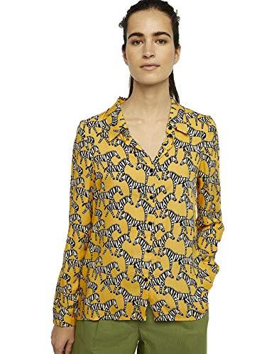 Compañia Fantastica Camisa Mujer Estampado Zebras Amarillo Small