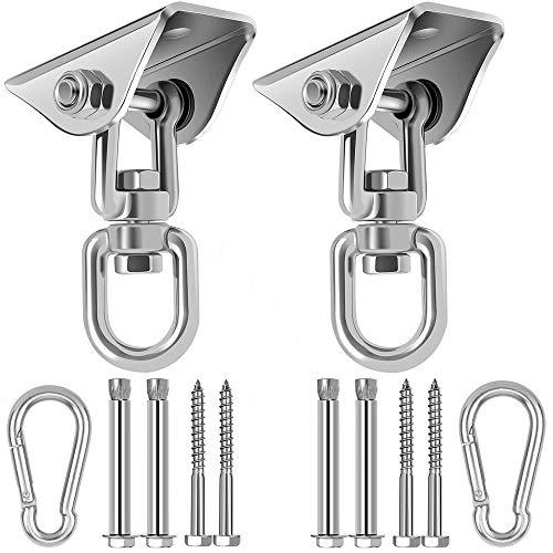 Swing Hangers for Wooden Concrete Swing Set, 2 Pack Heavy Duty 1200 lb Capacity Antirust Stainless Steel Suspension Hooks, 360°Rotate Heavy Bag Hanger for Woss Suspension, Hammock Chair Pod Yoga Swing