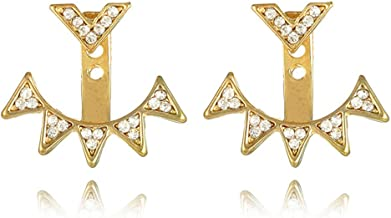 Ear Stud Crawler Earrings Cuff Climber Ear Wrap Pin Cute Women Vine Chandelier Rhinestone Jewelry