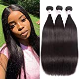 Beauty Forever Hair Brazilian Virgin Straight Hair Weave 3 Bundles 100% Unprocessed Human Hair Extensions Natural Color Can Be Dyed and Bleached (20 22 24)