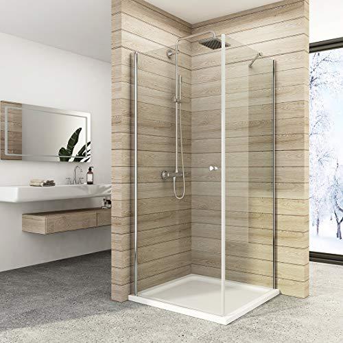 Eckeinstieg Duschkabine 90 x 90 x 185 cm Duschabtrennung Pendeltür Duschwand Schwingtür Duschtür Mit Seitenwand