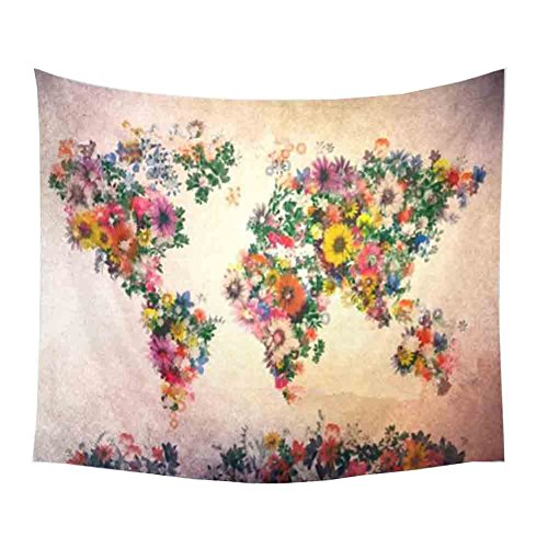 RSWLY Flores Mapa del Mundo Tapiz, Tapices de Pared Amarillo Púrpura Acuarela Naturaleza Grandes Manteles Pared para el Dormitorio Decoración Cortinas de Playa Toallas 150 * 130 cm / 59 * 51 Pulgadas