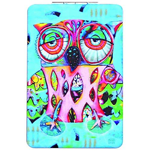 Allen Designs [Q1976] - Miroir de poche 'Allen Designs' bleu multicolore (chouette) - 8.5x5.5 cm