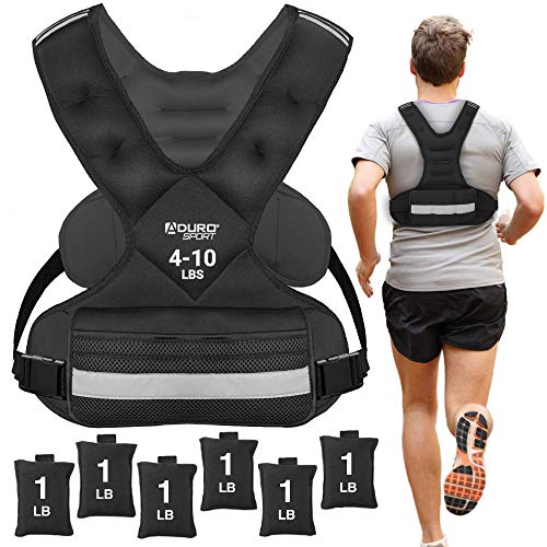 Aduro Sport Adjustable Weighted Vest Workout Equipment, 4lbs-10lbs Body Weight Vest for Men, Women,...
