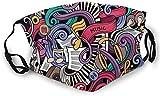 S6D6CZ8 Música Temed Dibujado a Mano Instrumentos Abstractos Micrófono Tambor Teclado Stradivarius...