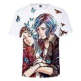 CYANDJ-Life is Strange-Camiseta de Manga Corta para Hombre Impresa en 3D, Camiseta Casual y Transpirable para niños, Camiseta Polo Neutra de Verano, Camiseta Cardigan para niños-140