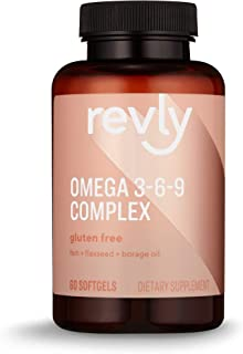 Amazon Brand - Revly Omega 3-6-9 Complex of Fish, Flaxseed and Borage Oil - EPA & DHA Omega-3 fatty acids - 60 Softgels, 2...