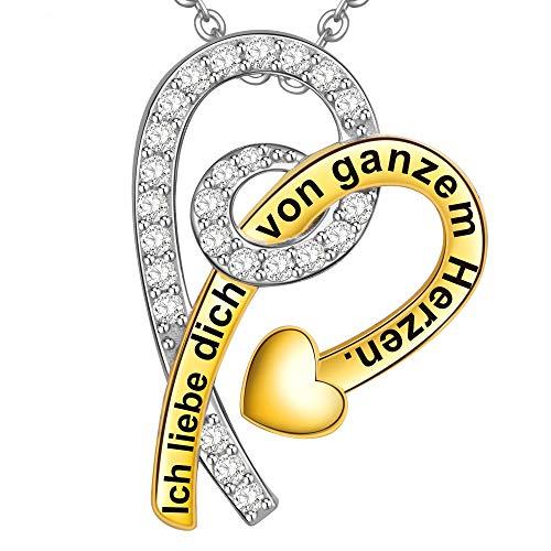 LOVORDS Damen Halskette Gravur 925 Sterling Silber Amors Pfeil Herz Kette Anhänger Liebesgeschenke für Frauen Freundin