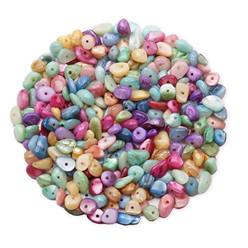 Yholin Irregular Stone Chips Beads Bulk - Hole Drilled Light Candy Stone Shell Chips,Crystal Tumbled Chips Stone Healing Crushed Rock Beads for DIY Craft Earring Jewelry Making and Home Decor,1 Strand
