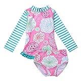 Agoky Baby Mädchen Langarm Badeanzug Blumendruck Tankini Bikini SetBademode Badewindelhose Schwimmanzug Badebekleidung für Kleinkind 0-24 Monate Rosa 92-98